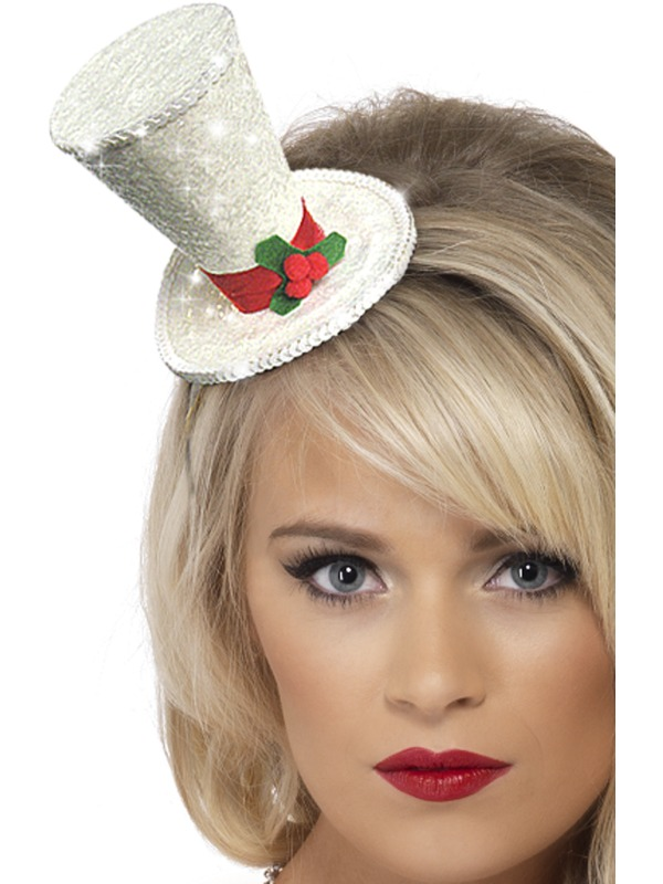 White Christmas Top Hat Headband Glitter With Holly On Band