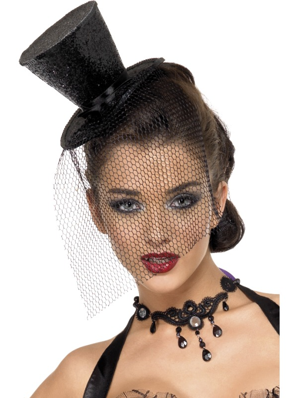 Fever Mini Top Hat Black Glitter With Netting Carnival Hats